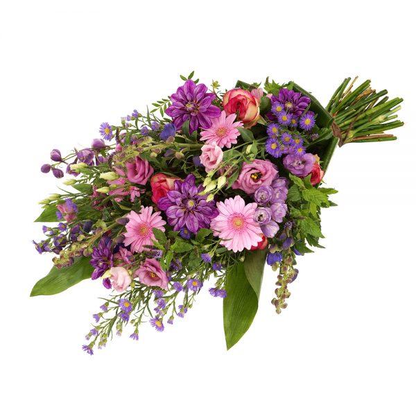 Rouwboeket roze en paarse rouwbloemen
